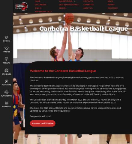 Canberra Basketball League - screenshot