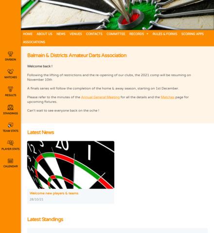 Balmain & Districts Amateur Darts Association - screenshot