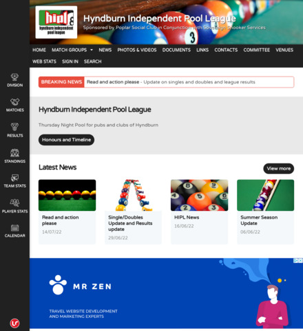 Hyndburn Independent Pool League - screenshot