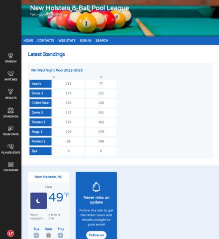 New Holstein 8-Ball Pool League