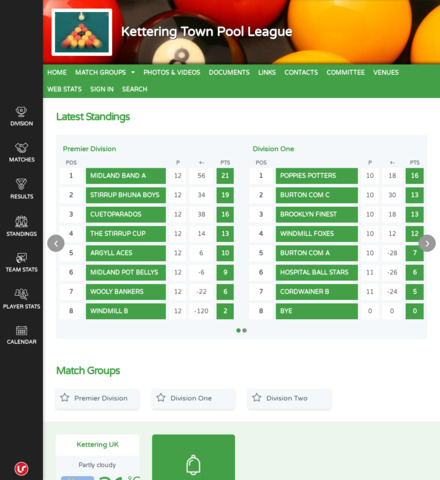 Kettering Town Pool League - screenshot