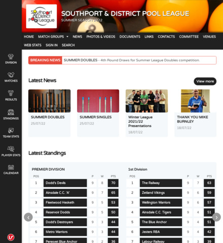 SOUTHPORT POOL LEAGUES WEBSITE - screenshot