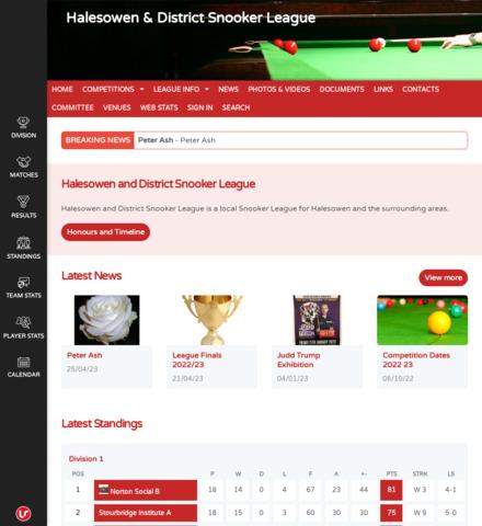 Halesowen & District Snooker League - screenshot