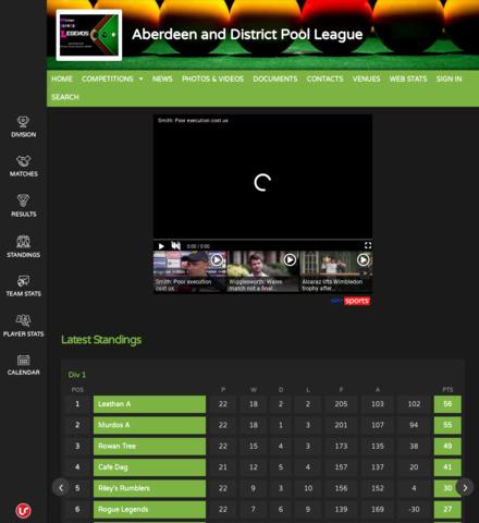 Aberdeen and District Pool League - screenshot