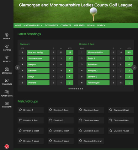 Glamorgan and Monmouthshire Ladies County Golf League - screenshot