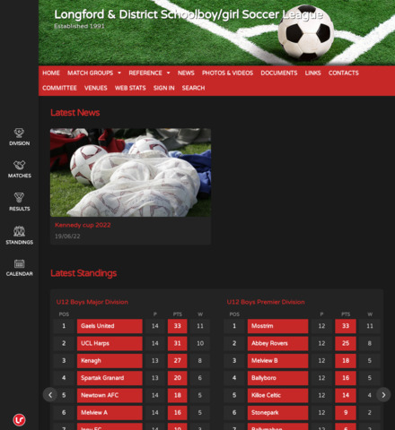 Longford & District Schoolboy/girl Soccer League - screenshot