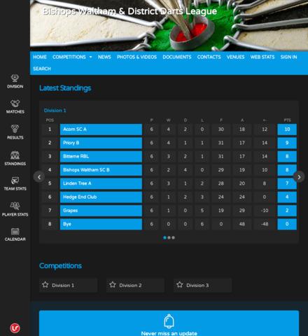 Bishops Waltham & District Darts League - screenshot