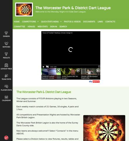 The Worcester Park & District Dart League - screenshot