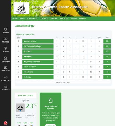Toronto Chinese Soccer Assocation - screenshot