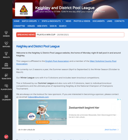 Keighley and District Pool League - screenshot
