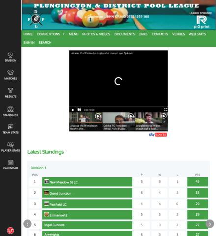 Plungington & District Pool League - screenshot