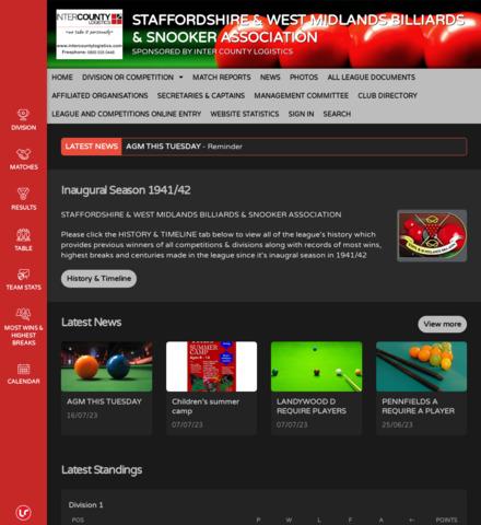 STAFFORDSHIRE & WEST MIDLANDS BILLIARDS & SNOOKER ASSOCIATION - screenshot