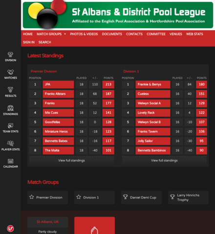 St Albans and District Pool League - screenshot