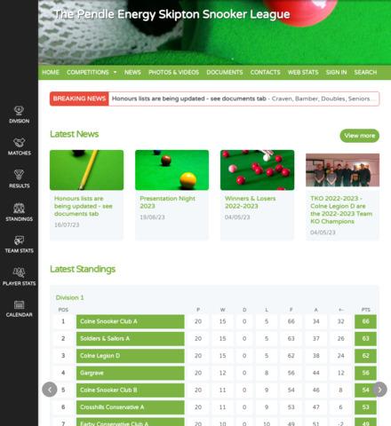 The Pendle Energy Skipton Snooker League - screenshot