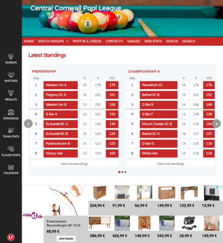 Central Cornwall Pool League - screenshot