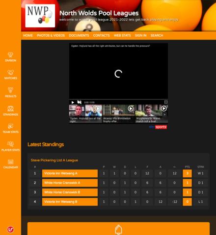 North Wolds Pool Leagues - screenshot