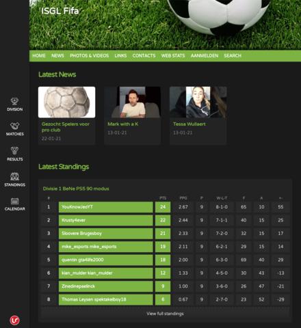 Vlaamse FIFA Esport Liga - screenshot