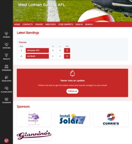 West Lothian Sunday AFL - screenshot