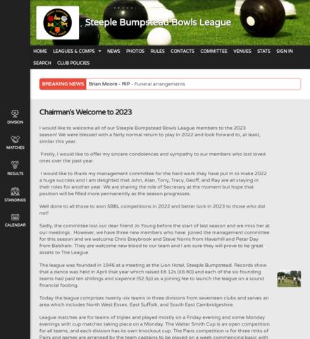 Steeple Bumpstead Bowls League - screenshot
