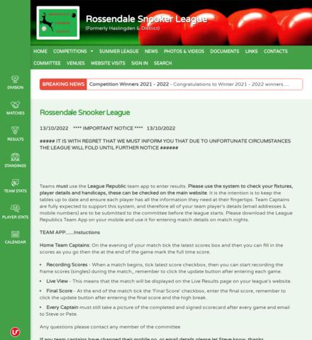 Rossendale Snooker League (Formerly Haslingden & District)