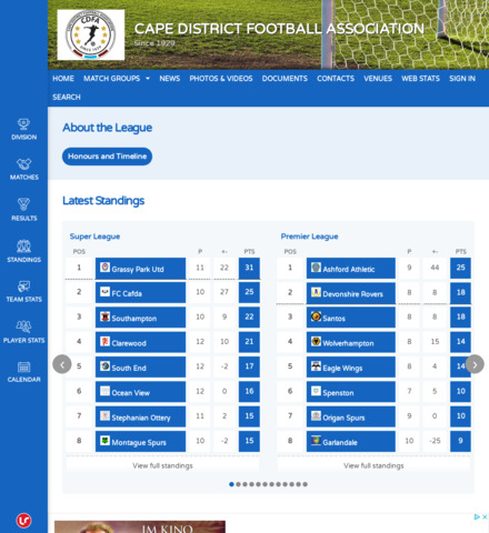 CAPE DISTRICT FOOTBALL ASSOCIATION - screenshot