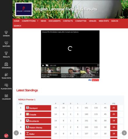 English Lacrosse Fixtures & Results - screenshot