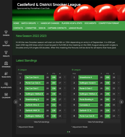 Castleford & District Snooker League - screenshot