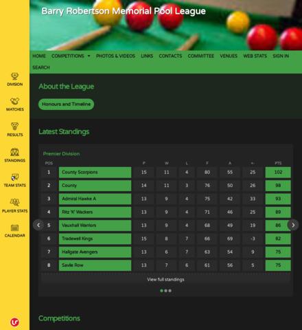 Barry Robertson Memorial Pool League - screenshot
