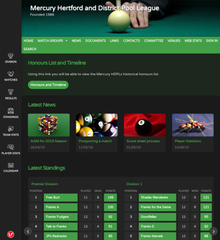 Mercury Hertford and District Pool League - screenshot