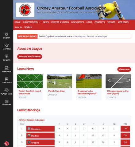Orkney Amateur Football Association - screenshot