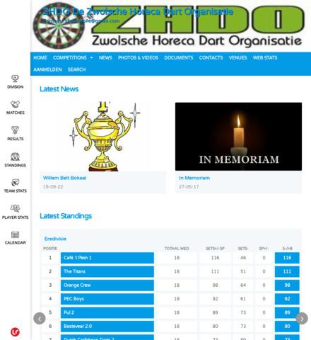 ZHDO De Zwolsche Horeca Dart Organisatie - screenshot
